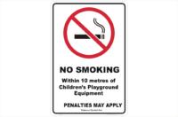 QLD No Smoking 10 Metres of Childrens' Playground Sign