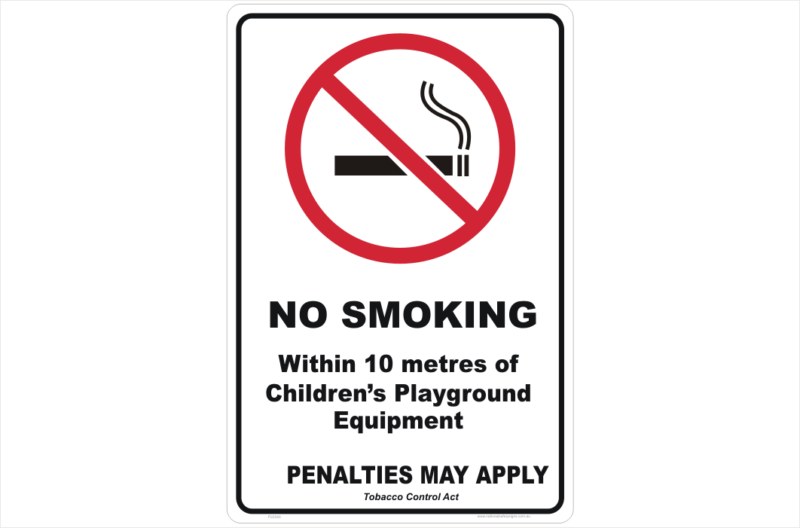 QLD No Smoking 10 Metres of Childrens' Playground Sign