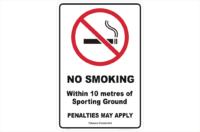QLD No Smoking 10 Metres of Boundary sign
