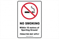 QLD No Smoking 10 Metres of Boundary sign