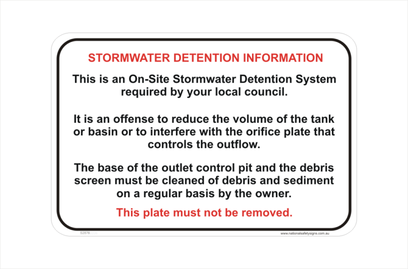 Storm Water Detention System sign