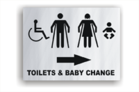 Toilets and baby change room sign