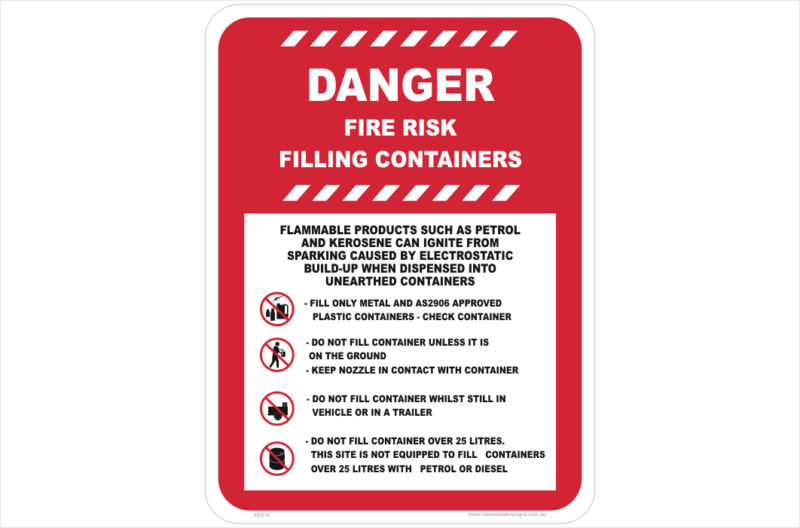 Filling Container Fire Risk sign