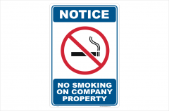 No Smoking on Company Property Sign