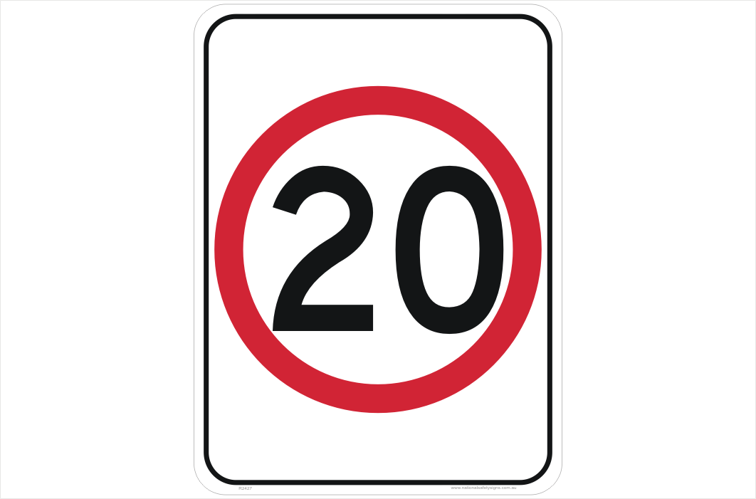 Speed Limit 20 KPH sign