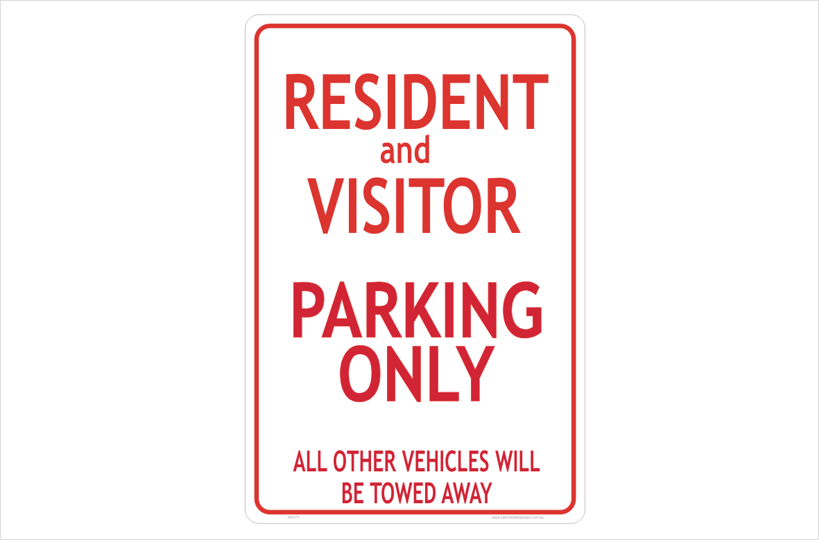 Residents and Visitors Parking only sign