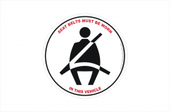 Seatbelts required sticker