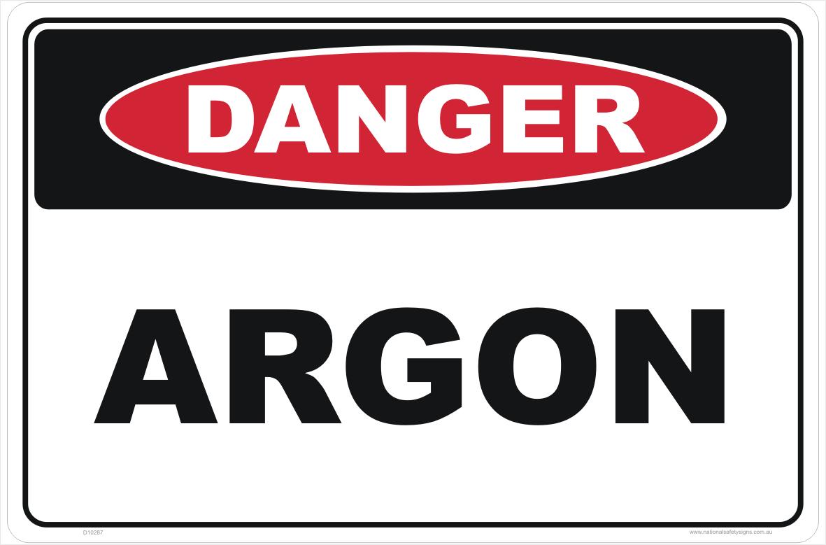 Argon Gas Hazchem Sign