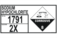 Storage Emergency Information Panel Sodium Hypochlorite