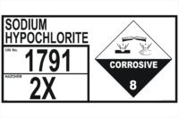 Storage Emergency Information Panel Sodium Hypochlorite