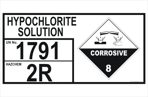 Dangerous Goods Storage Panel Hypochlorite Solution