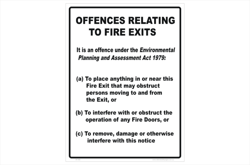 Fire Exit Offences Act 1979 sign