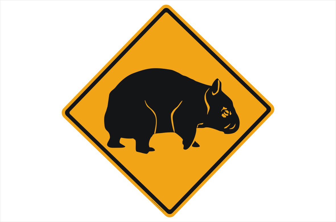 Wombat ahead sign