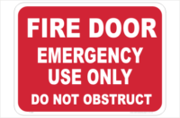 Fire Door Emergency sign