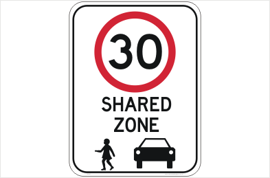 Shared Zone 30 KPH Sign