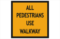 Pedestrians use walkway sign