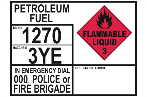 Emergency Information transport Panel - Petroleum Fuel