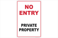 No Entry Private Property Sign