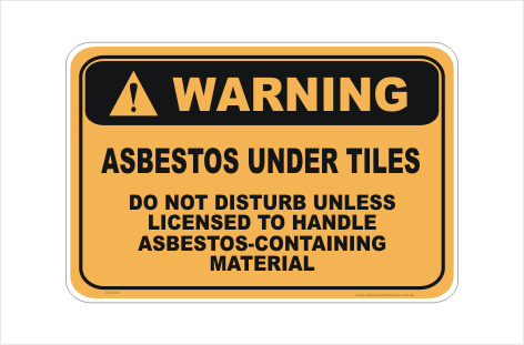 Asbestos Tile Warning sign