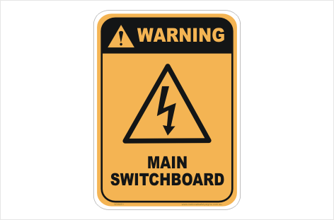 Main Switchboard Warning sign