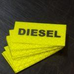Diesel fuel Reflective fluro yellow sticker
