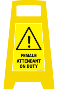 Female Attendant on Duty sign