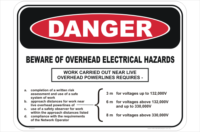 Overhead electrical hazards sign