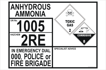 Emergency Information Panel Anhydrous Ammonia