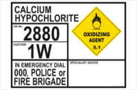 Oxidizing Calcium Hypochlorite Dangerous goods information panel 2880.