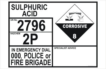 Emergency Information Panel Sulphuric Acid