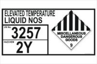 Dangerous Goods Storage Panel Elevated Temperature Liquid NOS