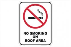No Smoking on Roof Area sign