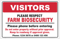 Farm Gate Biosecurity Signs