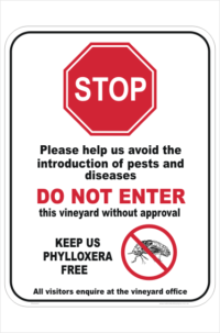 Vineyard Biosecurity sign