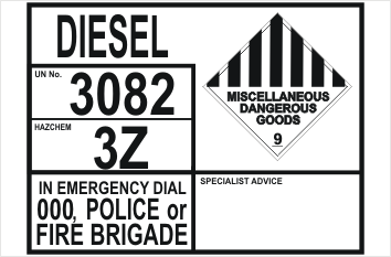 Diesel information sign