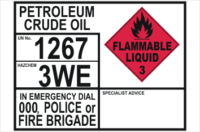 Emergency Information transport Panel - Petroleum Crude Oil