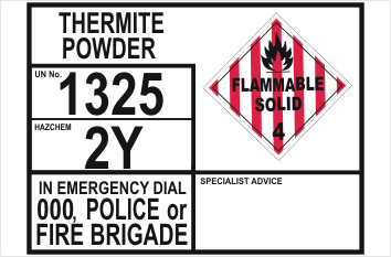 Emergency Information Panel Thermite Powder Transport
