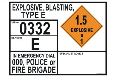 Emergency information panels (EIP) Explosives Blasting - EIP - Dangerous goods