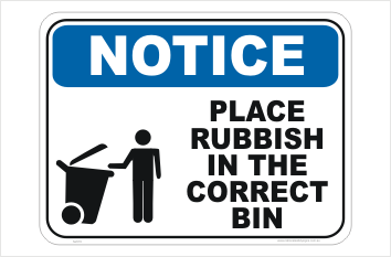Correct Rubbish Bin sign