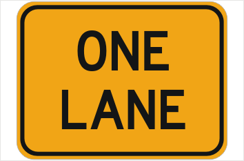 One Lane sign