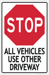 Use Other Driveway sign