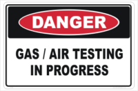 Gas Testing sign