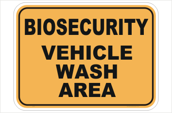 Biosecurity Vehicle Wash Area sign