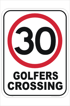 Golfers Crossing sign