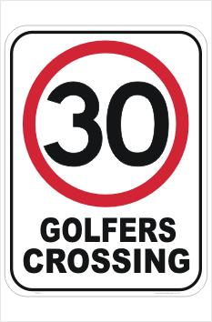 Golfers Crossing sign