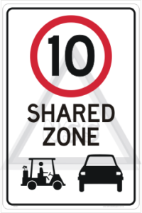 Shared Zone Golf Cart Sign