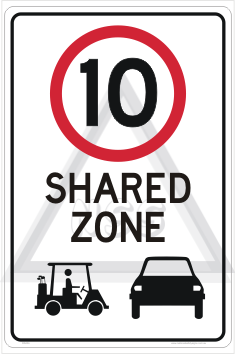 Shared Zone Golf Cart Sign