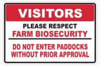 Farm Biosecurity Paddock sign