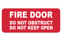 Fire door Do Not Obstruct sign
