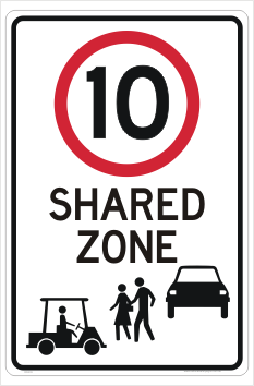 Golf Cart Shared zone sign